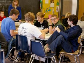 Junior High Knowledge Bowl students during 2014 competition.