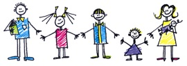 Stick figure drawing of family of five