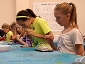 Students create art with bubbles in 2015 YWAC session.