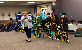 Lesson at Pathstone Living Community on aging. Students wore aging simulation suits and were asked to perform simple tasks – it was not so simple!